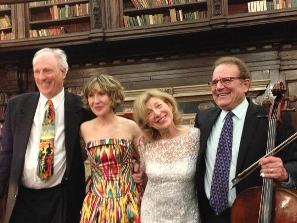 Kenneth Cooper, Roza Tulyaganova, Paula Robison, and Frederick Zlotkin take their bows. Photo Leslie Teicholz.