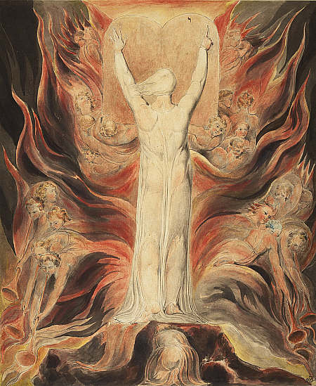 William Blake, God Writing upon the Tables of the Covenant, c. 1805. Pen and ink and watercolour over pencil on paper. NAtional Galleries of Scotland, William Findlay Watson Bequest 1881.