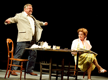 Jamie Beamish and Clare Higgins, in Harold Pinter's A Slight Ache, photo Catherine Ashmore