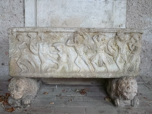 There are a few Mattei antiquities left at the Castello di Giove, the finest is a sarcophagus with battling Amazons.