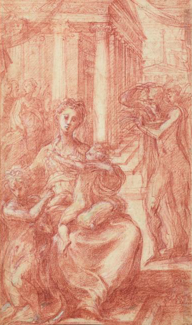 Francesco Mazzola, il Parmigianino, Madonna And Child With St John The Baptist And St Jerome, red chalk heightened with white, with traces of black chalk, over underdrawing in stylus, Sotheby's Paris, Lot no. 11
