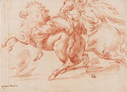 Francesco Salviati, Figures on Horseback, Red chalk on cream paper.