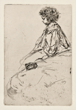 James A. M. Whistler (1834-1903) Bibi Lalouette (K.51) Etching and drypoint, 1859, the second (final) state, on tissue-thin, cream laid Japan paper