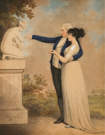 Adam Buck (1759 - 1833). A lady and gentleman looking at a crouching Venus in a landscape. Watercolor and charcoal heightened with wash.
