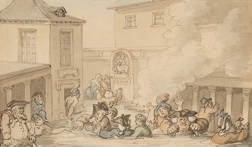 Thomas Rowlandson (1756 - 1827), Comforts of Bath: King Bladud's Bath, Pen and ink and watercolor, on a contemporary mount.
