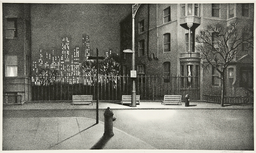 Stow Wengenroth (1906-1978), New York Nocturne (S.146) Lithograph, 1945, signed in pencil, the edition was 85, on wove paper,