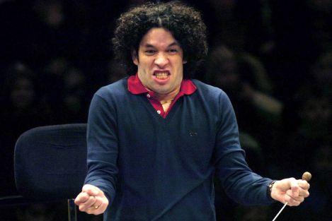 Gustavo Dudamel in an intense moment