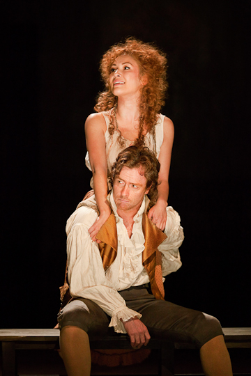Eleanor Matsuura as Marion and  Toby Stephens as Georges Danton in Danton's Death, The National Theatre 2010. Photo Johan Persson.