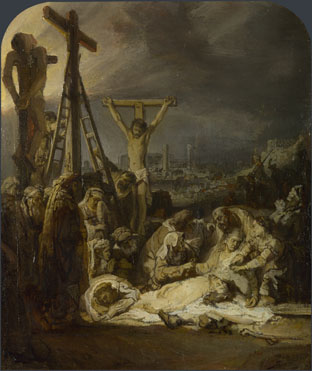 Rembrandt van Rijn, Lamentation over the Dead Christ, oil on paper and pieces of canvas, mounted onto oak, about 1635, 31.9 x 26.7 cm. National Gallery of Art, London.