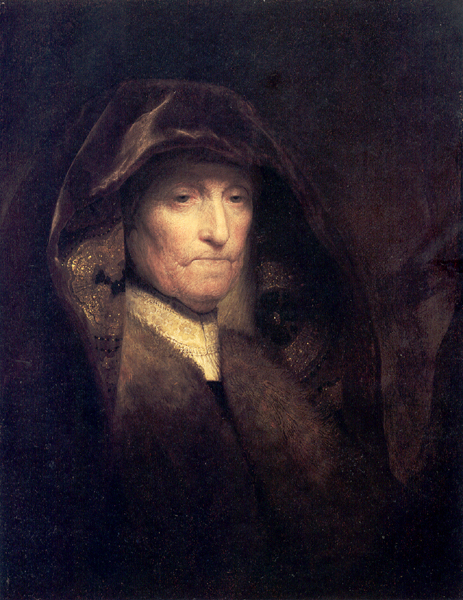 "Rembrandt van Rijn (1606-69), An old woman: ""The Artist's Mother,""  c.1629, oil on panel, 61.3 x 47.3, The Royal Collection. cm"