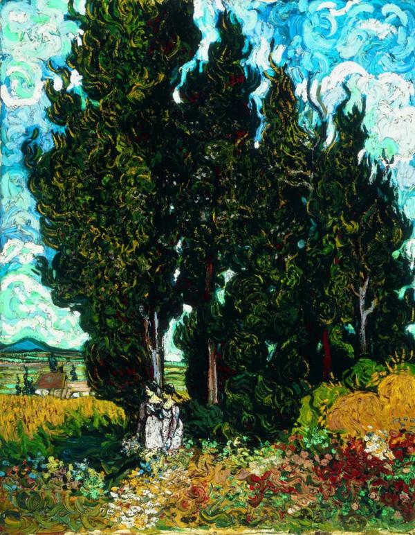 Vincent van Gogh, Cypresses with Two Female Figures, 1889, Kröller-Müller Museum, Otterlo.