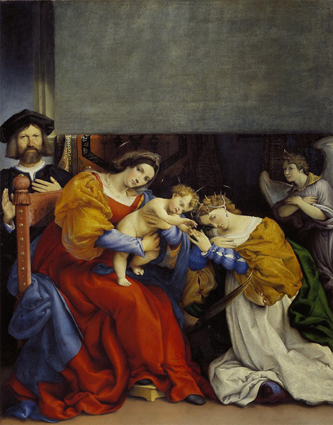 Lorenzo Lotto, Mystic Marriage of Saint Catherine, with the Donor Niccolò Bonghi, 1523. OIl on Canvas.