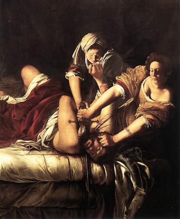 Artemisia Gentileschi, Judith and Holofernes, oil on canvas, Galleria degli Uffizi