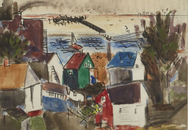 Karl Knaths (1891-1971), Provincetown Houses and Weirs, 1930, Watercolor and chalk on paper, 12 3/4 x 17 1/4 inches.