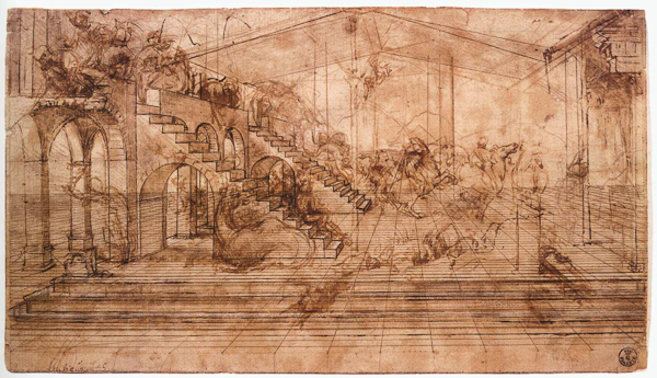 Leonardo da Vinci, Studio architettonico per lo sfondo dell'Adorazione dei Magi, incision, metalpoint, pen and brown ink brush and brown wash heightened with white,n. 436 E, Gabinetto disegni e stampe degli Uffizi (no. 436 E r).