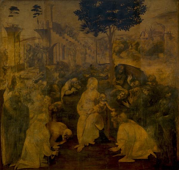 Leonardo da Vinci, Adorazione dei Magi, oil on panel, Galleria degli Uffizi, Firenze.