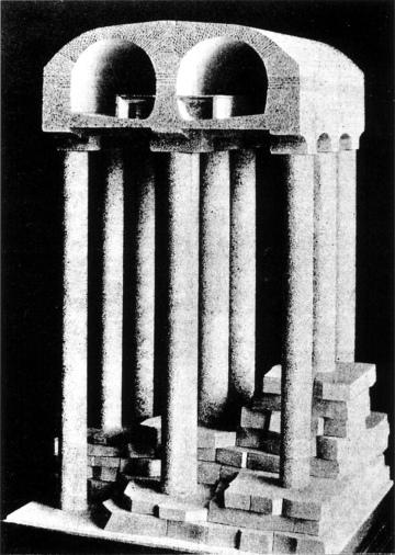 Maquette de la station Danube (ligne 7), un viaduc souterrain dans une ancienne carrière de gypse.