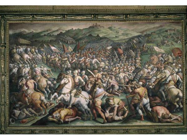 Giorgio Vasari and assistants, La vittoria di Cosimo a Marciano in Val di Chiana, Salone dei Cinquecento, Palazzo Vecchio, Florence.