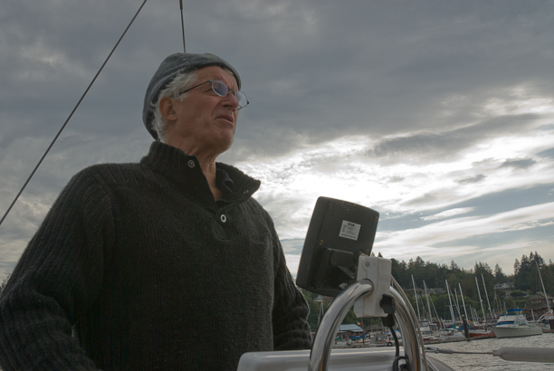 The author sailing in Cowichan Bay. Photo © 2009 Michael Miller.
