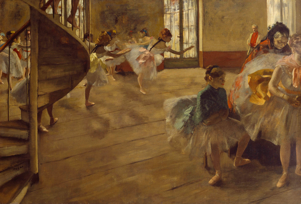 Fig. 1. Edgar Degas, The Rehearsal, c. 1874, oil on canvas, 58.4 x 83.8 cm, Lent by Culture and Sport Glasgow on behalf of Glasgow City Council. Gifted by Sir William and Lady Constance Burrell to the City of Glasgow, 1944. Image copyright Culture and Sport Glasgow (Museums).