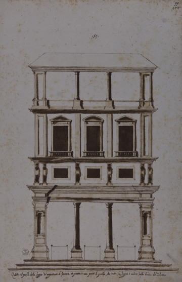 Giorgio Vasari il giovane, Modulo compositivo della facciata degli Uffizi, Gabinetto Disegni e Stampe degli Uffizi.