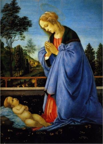 Filippino Lippi, Madonna Adoring Her Child, c. 1478, Florence, Galleria deli Uffizi.