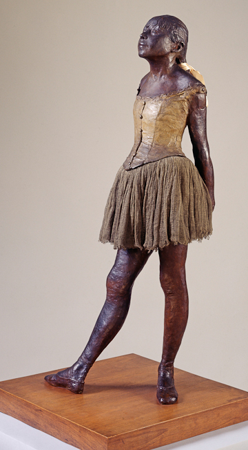 Fig. 3. Edgar Degas, The Little Dancer, Aged Fourteen, 1880-1, cast c. 1922, painted bronze with muslin and silk, 98.4 x 36.5 cm. Tate. Purchased with assistance from The Art Fund 1952. Image copyright Tate, London, 2010.