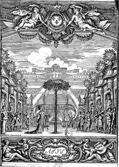The Final Scene of Atys, illustrated in the first edition (1676) of Quinault's libretto.