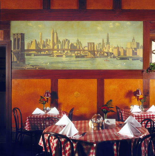 The Old New York Spaghetti House's Dining Room, with Cleveland Artist John Czosz's View of the East River. (Anglophiles, note the Tuderoid paneling!)