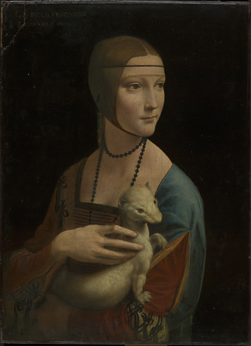 Fig. 2 Leonardo da Vinci (1452–1519), Portrait of Cecilia Gallerani ('The Lady with an Ermine'), about 1489–90, oil on walnut, 54.8 x 40.3 cm, Property of the Czartoryski Foundation in Cracow on deposit at the National Museum in Cracow. © Princes Czartoryski Foundation
