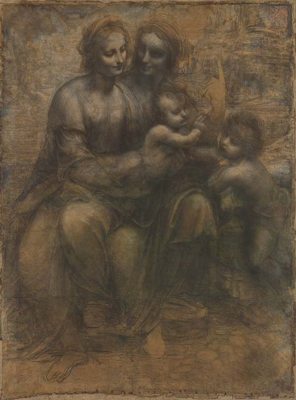 Leonardo da Vinci (1452–1519), The Virgin and Child with Saint Anne and Saint John the Baptist ('The Burlington House Cartoon'), about 1499–1500, Charcoal (and wash?) heightened with white chalk on paper, mounted on canvas,  141.5 x 104.6 cm, © The National Gallery, London, Purchased with a special grant and contributions from The Art Fund, the Pilgrim Trust, and through a public appeal organised by The Art Fund, 1962 (NG6337)
