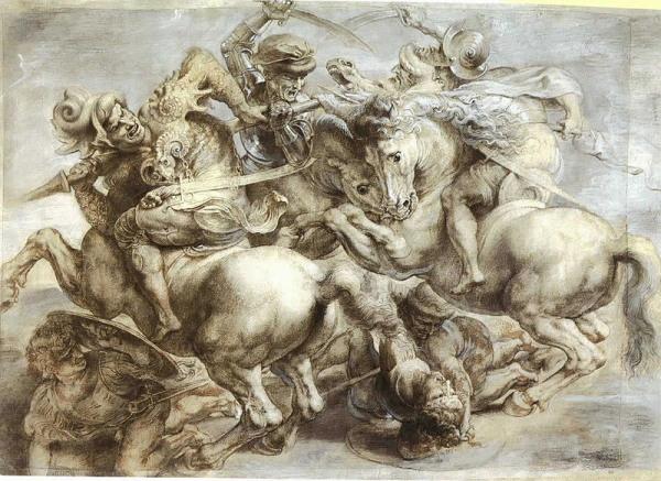 Peter Paul Rubens,  retouched by, The Battle of Anghiari (copy after Leonardo), Musée du Louvre.