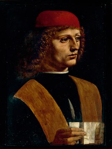 Fig. 1 Leonardo da Vinci (1452–1519), Portrait of a Young Man ('The Musician'), about 1486-7, oil on walnut, 44.7 x 32 cm,  Veneranda Biblioteca Ambrosiana, Pinacoteca – Milan (99). © Veneranda Biblioteca Ambrosiana – Milano/De Agostini Picture Library .
