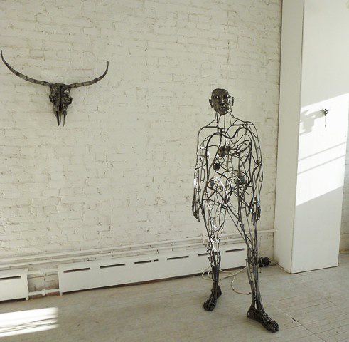 "Works by Alexandra Limpert in ART 101. From the left, ""Steer"" (2011-12), ""I"" (2004), ""Dragonfly""(2007). Photo © 2012 Louise Levathes."