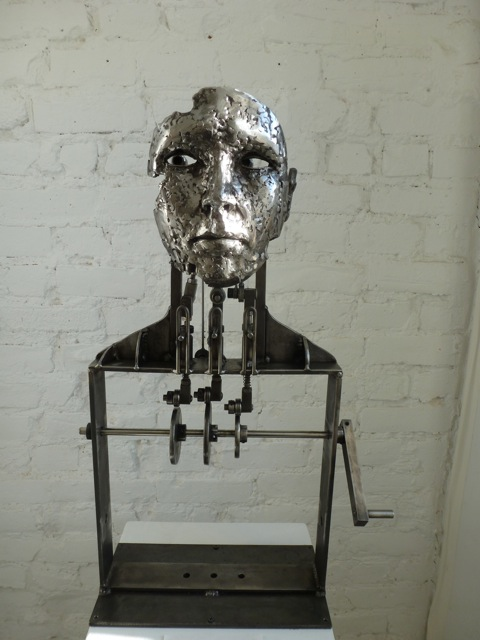 "Alexandra Limpert, ""Oracle"" (2011-12). Hand crank opens and closes the eyes.  Photo © 2012 Louise Levathes."
