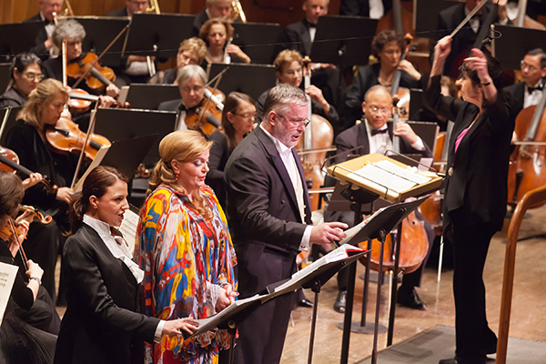 Eve Queler conducts the Opera Orchestra of New York in Wagner's Rienzi with (l to r) Geraldine Chauvet, Elisabeth Matos and Ian Storey at Avery Fisher Hall. Photo Chris Lee.