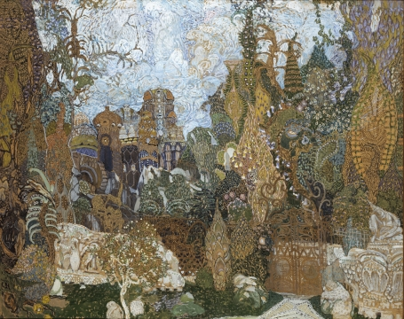 "Aleksandr Yakovlevich Golovin Kashchei's stuffy kingdom. Sketch of scenery for the ballet by I.F.Stravinsky ""Firebird"" 1910 Paper, gouache, water-colour, bronze paint 82,5 х 102"
