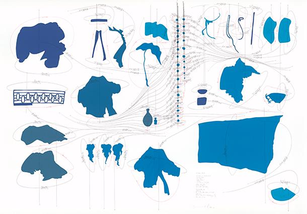 Jorinde Voigt, 55 Views Blue, 2011 , Coloured paper, pencil, ink on watercolour paper, 140 x 200 cm, Galerie Bernd Klüser GmbH, Munich. Collection Florence and Daniel Guerlain, Les Mesnuls.