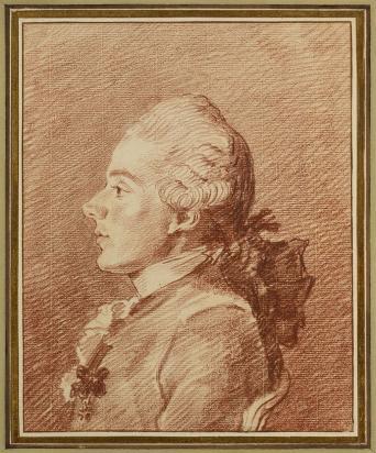 Louis Carrogis, called Carmontelle (1717-1806), Portrait de Jean-Charles Louis de Mesgrigny, red chalk, montage F. Renaud (Lugt 1042) 20 x 15,8 cm. Agnew's.