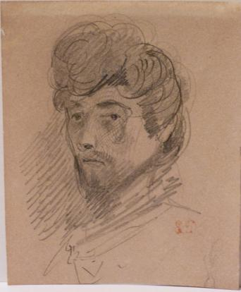 Eugène Delacroix (1798 - 1863), Self-Portrait, 1832  Graphite on paper, 124 x 100 mm. Galerie Normand.