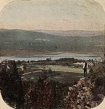 Hudson Valley with Onlooker, Hand-Colored Stereograph, 19th Century, NYPL