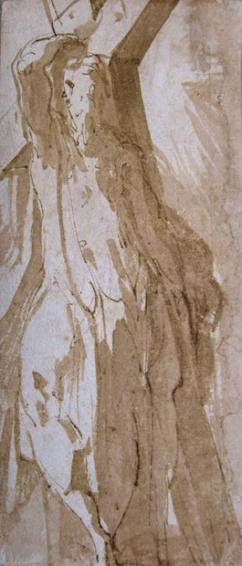 Girolamo Francesco Mazzola, Il Parmingianino (1503 - 1540), Recto: St. Andrew, pen and brown ink, brush and brown wash on cream paper. 150 x 65 mm. Galerie De Bayser.