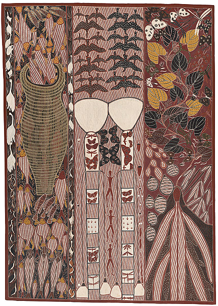 Barnumbirr the Morning Star, 1987 natural earth pigments on eucalyptus bark 178.0 h x 125.0 w cm Purchased 1987 © Jack Wunuwun. Licensed by Viscopy http://artsearch.nga.gov.au/Detail-LRG.cfm?View=LRG&IRN=68102&View=LRG
