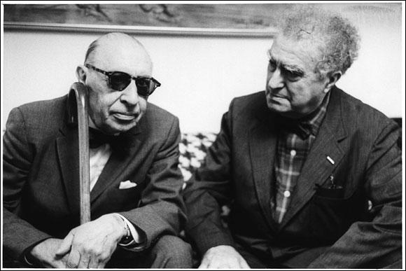 Edgard Varese with Igor Stravinsky
