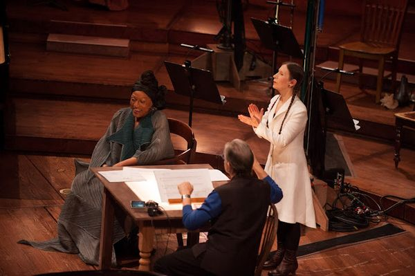 """Jessye Norman, Michael Tilson Thomas, and Meredith Monk in John Cage's """"Song Books"""""""
