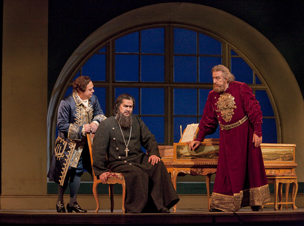 Golitsyn, Dosifei, and Khovansky Convene. Photo Ken Howard/Metropolitan Opera.