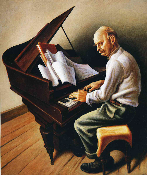 Thomas Hart Benton, Portrait of Carl Ruggles. Tempera on canvas covered panel. The Nelson-Atkins. Museum of Art.