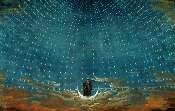 The arrival of the Queen of the Night. Stage set by Karl Friedrich Schinkel (1781–1841) for an 1815 production