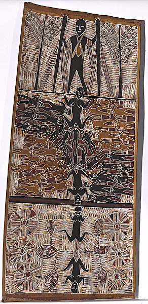 Wandjuk MARIKA Rirratjingu people Australia 1930 – 1987  The birth of the Djang'kawu children at Yalangbara 1982 the third in a series of five paintings concerned with the Djang'kawu  Collection Title: The Djan'kawu Story Yirrkala, North East Arnhem Land, Northern Territory, Australia Painting, Bark painting, natural earth pigments on eucalyptus bark 147.5 h x 66.0 w cm  © the estate of the artist licensed by Aboriginal Artists Agency from http://artsearch.nga.gov.au/Detail-LRG.cfm?IRN=100599&View=LRG