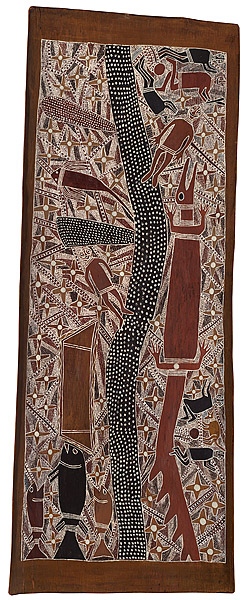 Mawalan 1 MARIKA Rirratjingu people 1908 Australia – 1967  The Milky Way c.1965 natural earth pigments on eucalyptus bark 177.5 h x 63.5 w cm  from http://artsearch.nga.gov.au/Detail-LRG.cfm?IRN=193408&View=LRG